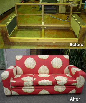 a couch before and after it was seen to by our fine furniture restorers in Melbourne